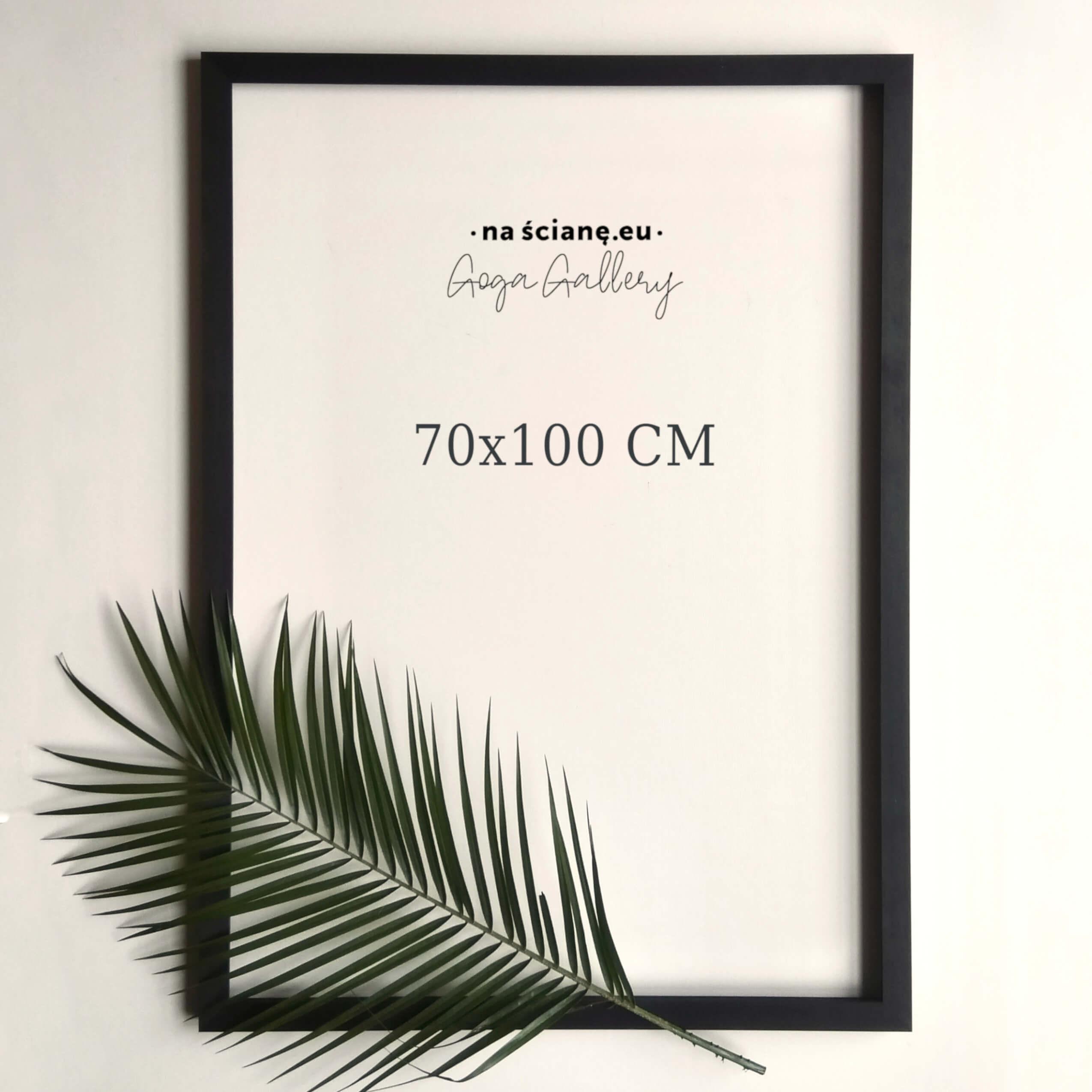 Drewniana rama na plakat lub zdjęcie, czarna bejca -  70x100 cm